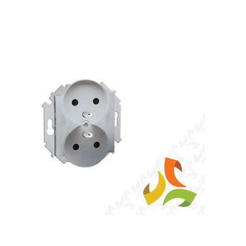 Simon kontakt Gniazdo podwójne z/u z przesłonami torów prądowych 16a, 250v, zaciski śrubowe, aluminium metalik 1591461-026 simon 15