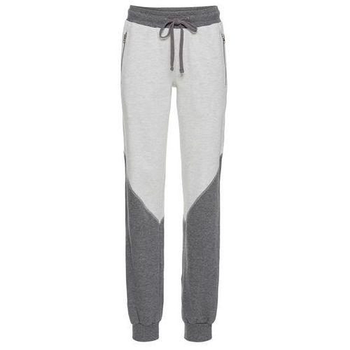 Spodnie sportowe, długie bonprix kremowo-szary melanż