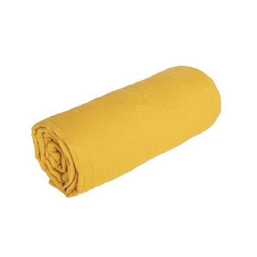 Prześcieradło z gumką LEGERO z muślinu bawełnianego – 140 × 190 cm – kolor musztardowy