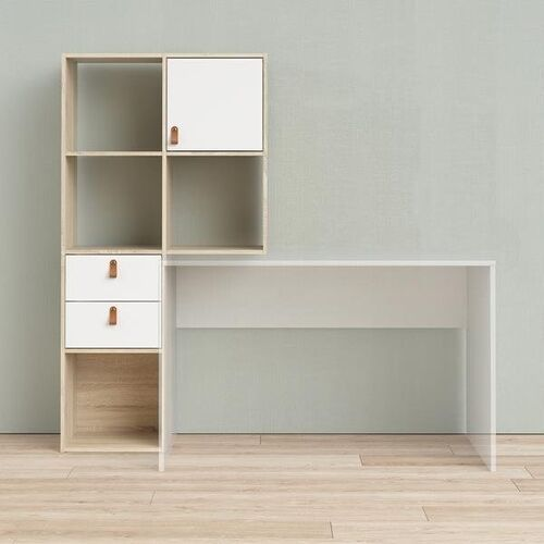 Tvilum Regał do biurka function plus biały mat/dąb sonoma