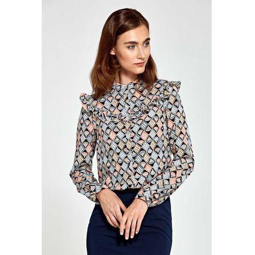Wzorzysta Koszulowa Bluzka z Falbankami, kolor beżowy