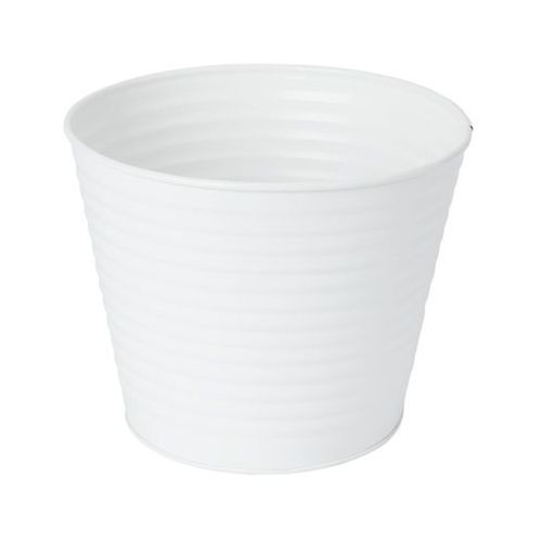 Doniczka metalowa GoodHome prążkowana 17 cm biała (3663602442547)