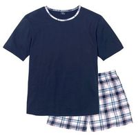 Piżama bonprix ciemnoniebieski w kratę, w 5 rozmiarach