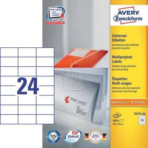 Etykiety uniwersalne Avery Zweckform trwałe 70 x 37mm 200 ark./op. 3474-200, 87490