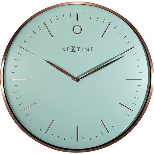Zegar ścienny glamour turkus i różowe złoto marki Nextime