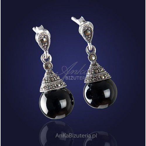 """Srebrna biżuteria """"pożądane i kochane""""-ponadczasowe, eleganckie kolczyki onyksem i markazytami. marki Anka biżuteria"""