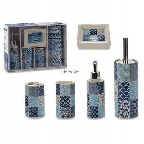 Ceramiczny zestaw łazienkowy 5 niebieski szlaczki marki Arteregal