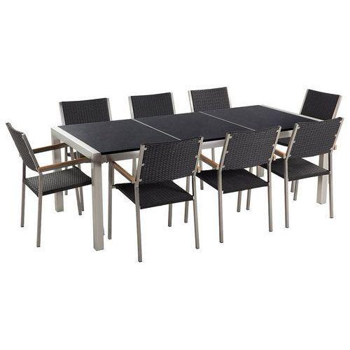 Meble ogrodowe - stół granitowy czarny polerowany 220 cm z 8 rattanowymi krzesłami - grosseto marki Beliani