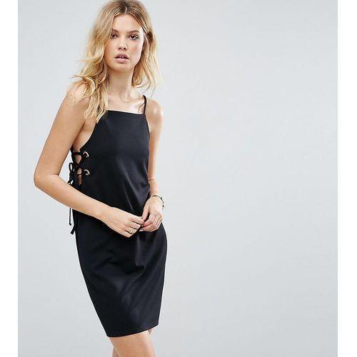 ASOS TALL Mini Dress With Lace Up Eyelet Waist - Black