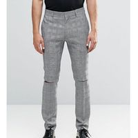 Religion Skinny Suit Trousers In Prince of Wales Check with Ripped Knees - Black, kolor czarny