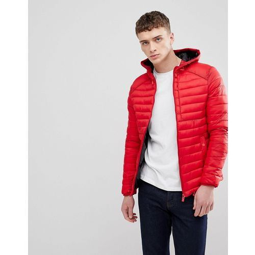 Bershka hooded puffer jacket in red - red