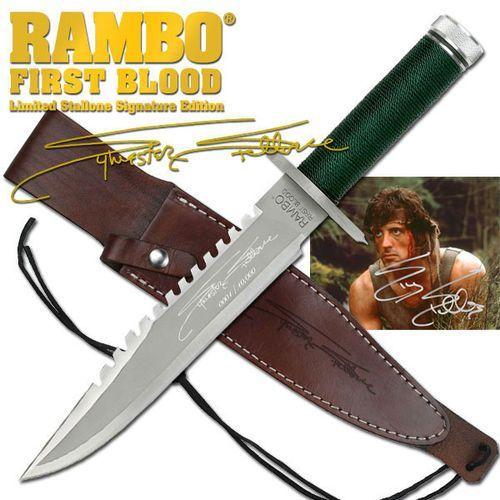 Kultowy nóż z filmu rambo i sygnowany sylvester stallone marki Usa