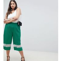 Asos design curve pleated plisse culotte trousers with lace insert - green, Asos curve