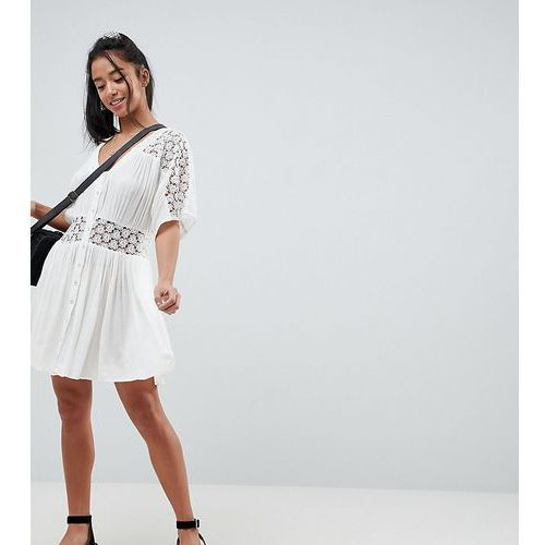 Asos petite Asos design petite casual tea mini dress with lace insert - white