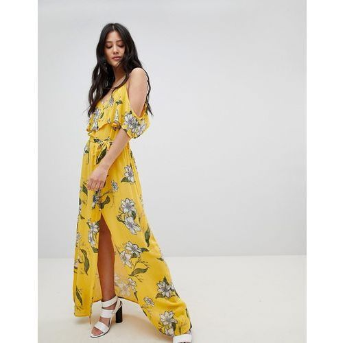 River Island Floral Print Cold Shoulder Maxi Dress - Yellow, kolor żółty