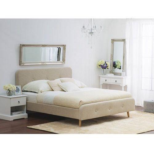 Łóżko beżowe - 140x200 cm - łóżko tapicerowane - RENNES (7081459056001)