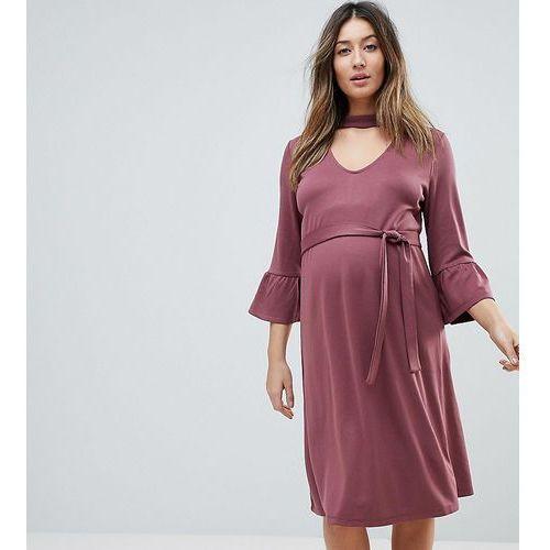 Mama.licious Mamalicious choker shift dress with frill sleeve - pink