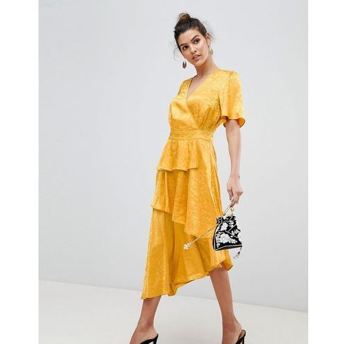 Y.A.S Satin Floral Wrap Dress - Yellow