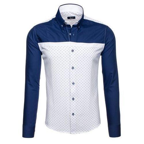 Granatowo-biała koszula męska we wzory z długim rękawem Bolf 6900 - GRANATOWO-BIAŁY