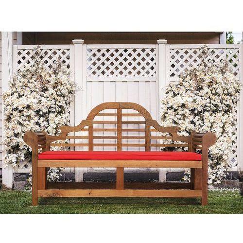 Ławka ogrodowa drewniana 180 cm poducha jasnoceglasta java marlboro marki Beliani