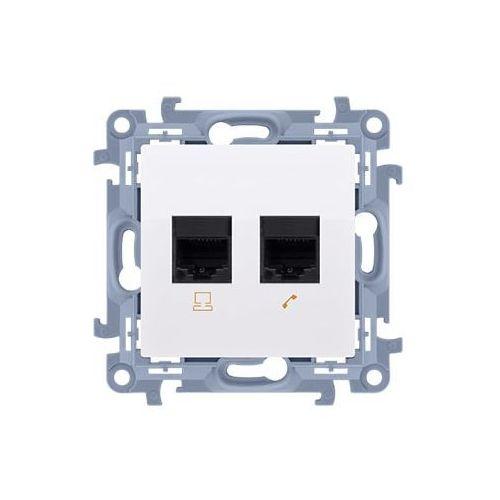 Gniazdo komputerowe simon 10 c62.01/11 podwójne rj45 kat. 6 białe kontakt-simon marki Kontakt simon