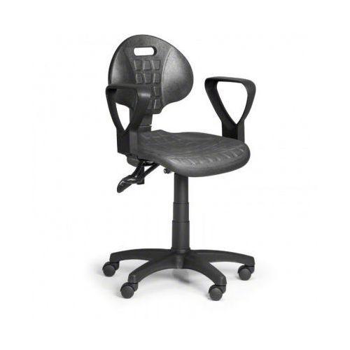 Krzesło pur z podłokietnikami, asynchroniczna mechanika, do twardych podłóg marki B2b partner