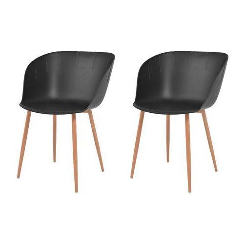 vidaXL Komplet 2 krzeseł, czarne, plastikowe siedziska i stalowe nogi, kolor czarny