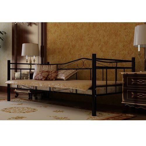 Vidaxl  czarne, metalowe łóżko, 90 x 200 cm + materac z pianki anatomicznej (8718475892113)