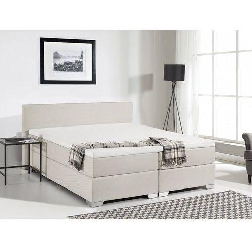 Łóżko kontynentalne 160x200 cm - łóżko tapicerowane - president beżowe marki Beliani