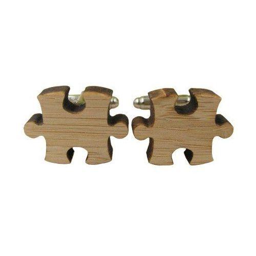 Spinki do mankietów drewniane puzzle marki E-spinki.pl