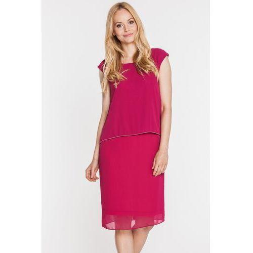 Bordowa sukienka z nakładaną górą - Vito Vergelis, kolor czerwony