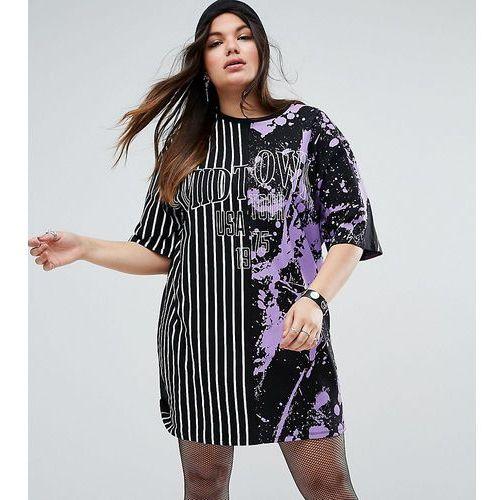 Asos curve phoenix print t-shirt dress in half and half print - multi