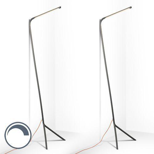 Qazqa Zestaw 2 lamp stojących lazy lamp szara