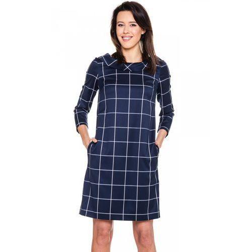 Granatowa sukienka w kratę - Bialcon, kolor niebieski