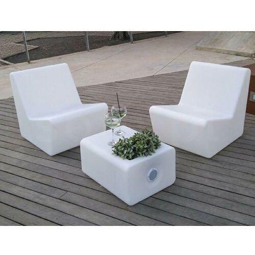 Sofa.pl New garden fotel tarida sit solar biały - led, sterowanie pilotem