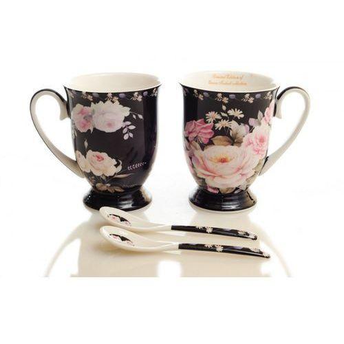 Queen isabell 2 kubki porcelanowe na prezent róże na ciemnym tle