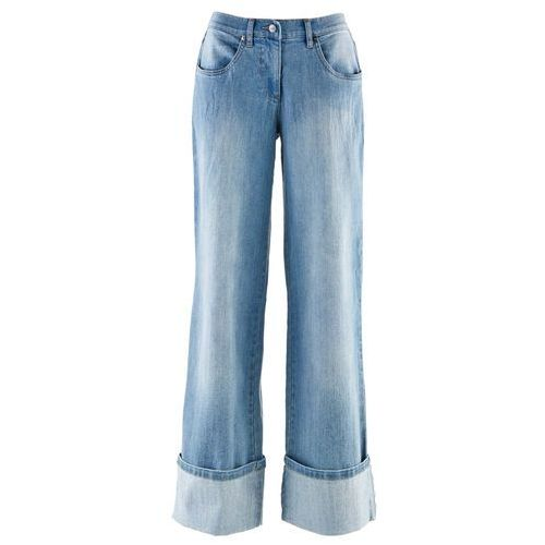 """Szerokie, krótsze dżinsy bonprix niebieski """"medium bleached"""", kolor niebieski"""