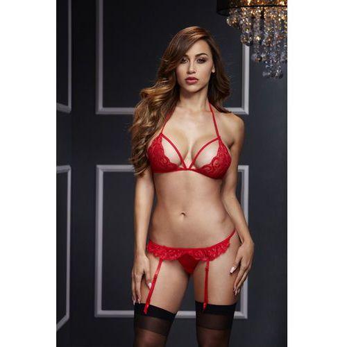 Komplet z otwartymi majteczkami - Baci Lacy Bra Garter & Open Crotch Panty Czerwony