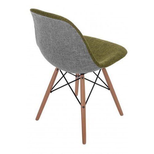 D2design Krzesło p016w duo jasne drewniane nogi (zielono-szare) d2