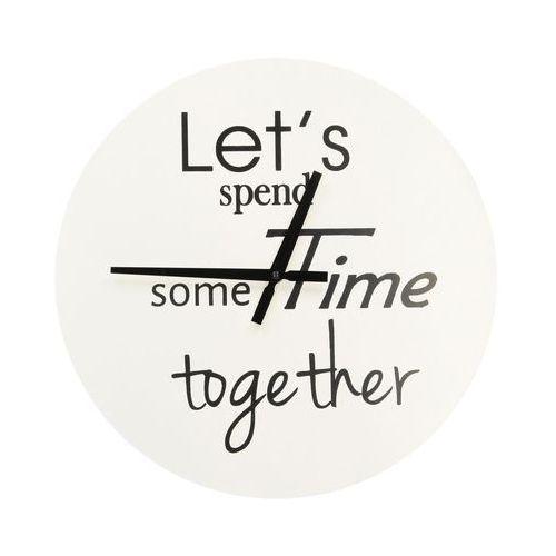 """Dekoria zegar ścienny """" let's spend..."""" śr. 38cm, 38 × 2,5 × 38 cm"""