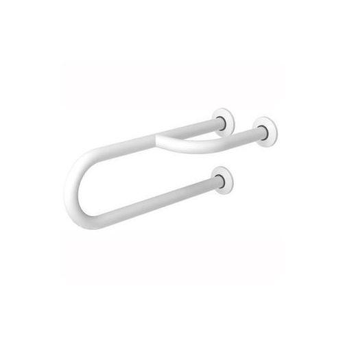 Poręcz stała dla niepełnosprawnych 3-podporowa prawa 600 mm biała