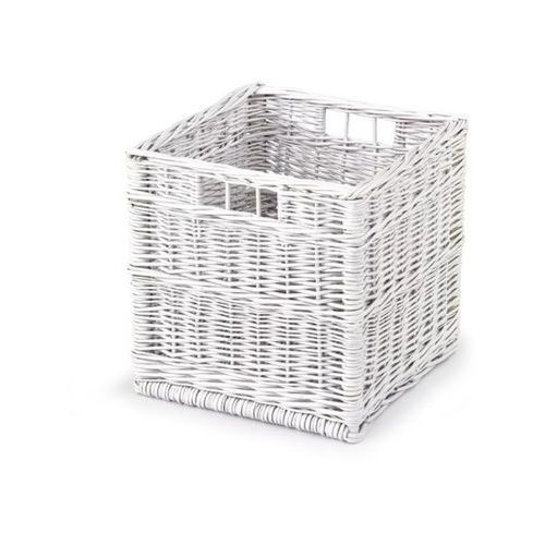 Wiklinowy kosz szuflada WOODY do przechowywania - biały, Halmar