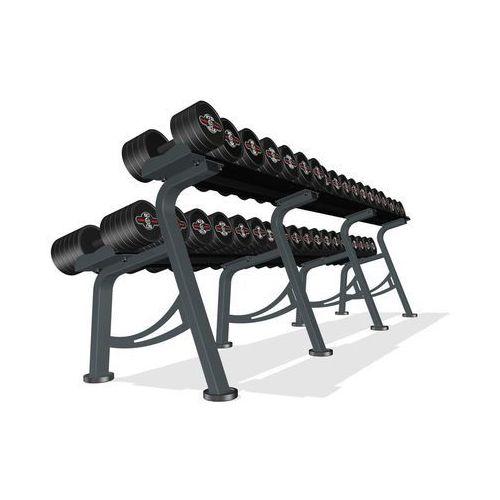 Marbo sport Zestaw hantli żeliwnych gumowanych 5-50 kg ze stojakiem marbo - czarne - czarny