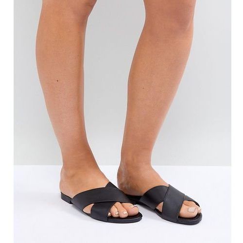 Truffle collection wide fit cross over flat sandal - black