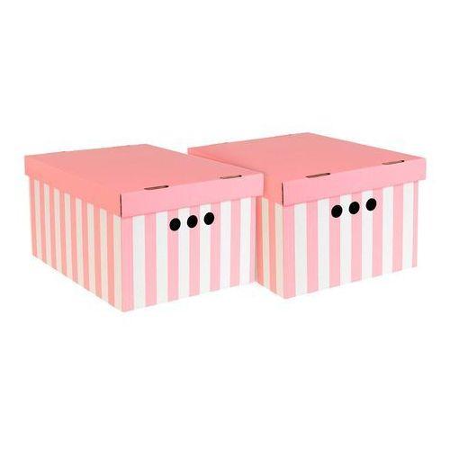 Pudło dekoracyjne A4 paski różowe 2 szt. (5904378233655)