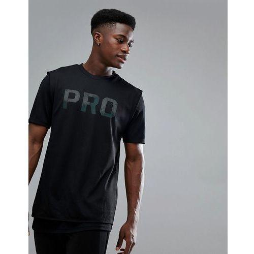Bershka SPORT Mesh T-Shirt With Pro Slogan In Black - Black, kolor czarny