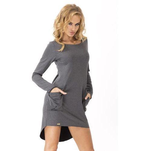 Grafitowa dresowa asymetryczna sukienka z dużymi kieszeniami, Makadamia, 36-38
