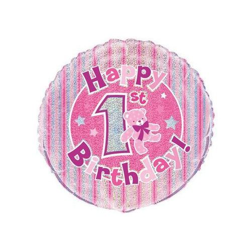 Balon foliowy różowy Happy Birthday na roczek - 46 cm (0011179554836)