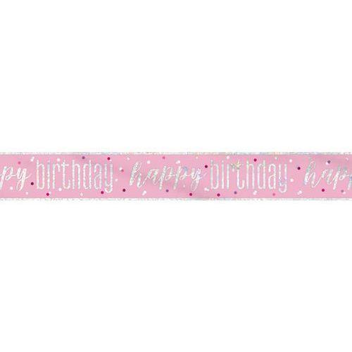 Baner Happy Birthday różowy na urodziny - 274 cm - 1 szt. (0011179834884)