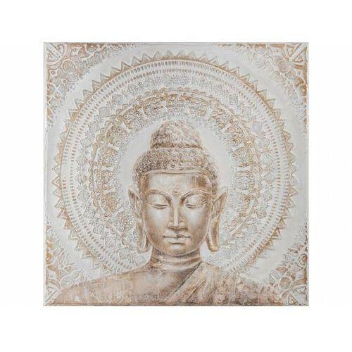 Obraz olejny calme - styl etniczny - konstrukcja z drewna sosnowego - 100x100 cm - kolor beżowy marki Vente-unique